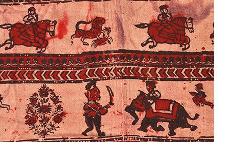 Figures block printed in jajam from Hadoti
